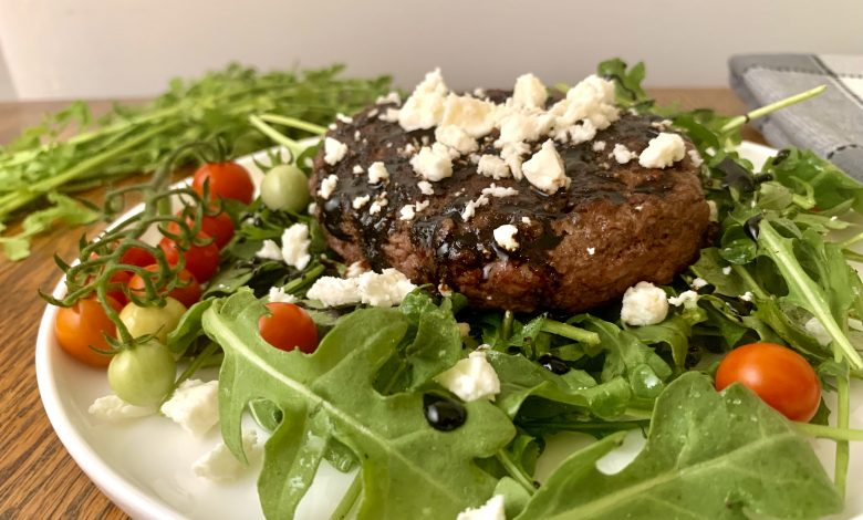 Bunless Burger on Plate with Feta and Glaze