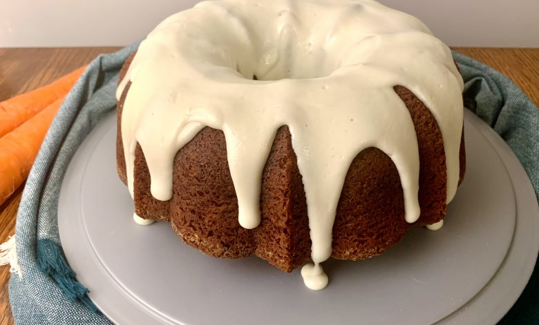 Carrot Bundt Cake on Stand with Glaze